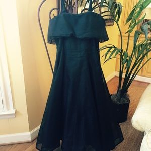 Vintage Black Voile Cocktail Dress - Size 8