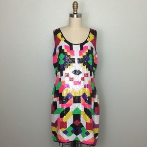 Vintage Neon Sequined Dress