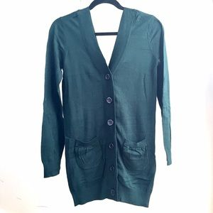Sweaters - NEW double v-neck forest green cardigan