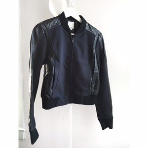 Halogen mixed media leather bomber