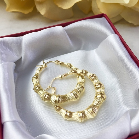 Jewelry 10k Gold Bamboo Hoop Earrings Poshmark