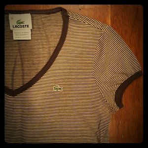 Lacoste Tops - Brown striped Lacoste v-neck t-shirt