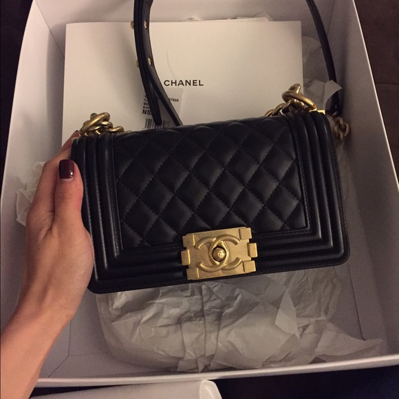 chanel bags | le boy small lamb skin | poshmark