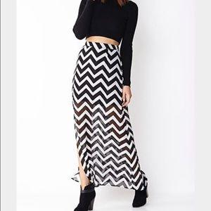 Chevron maxi skirt w black mini liner - F21