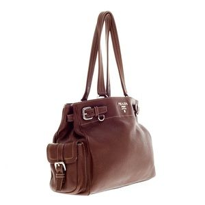Prada Handbags - Authentic PRADA brown pebbles Daino leather tote!