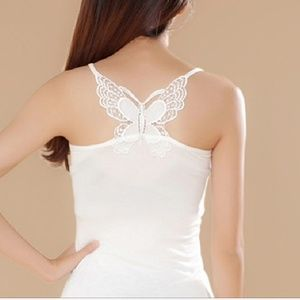 Tops - Sexy butterfly lace tank top, off white.