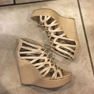 BCBG Nude Strappy Wedges