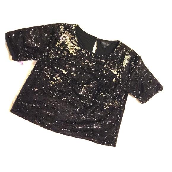 fe513b0c Topshop black/silver sequin crop top. M_56b7f722680278651503c4c2