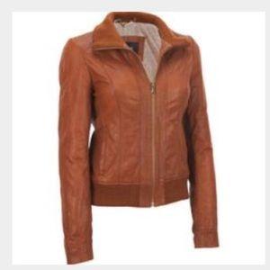 300de21c8 womens brown leather bomber jacket