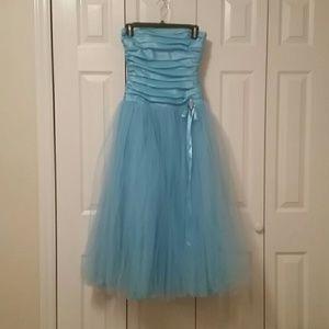 Light blue tulle corset prom dress