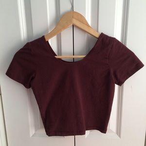 Burgundy American apparel crop top