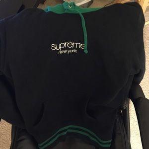 Supreme Classic Logo Hoodie Black/Green Size M