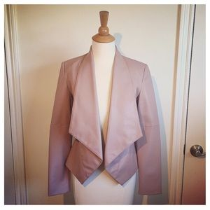 Mauve Blush Faux Leather Tuxedo Jacket