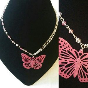 Crystal & chain necklace with butterfly pendant