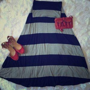 GAP maxi skirt dress black and grey striped