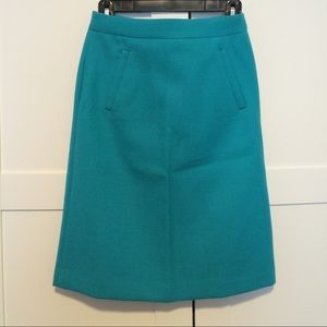 NWOT J. Crew A-line Turquoise Skirt
