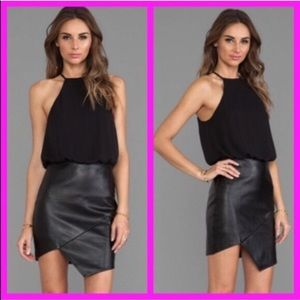 NWT chiffon & faux leather black mini dress