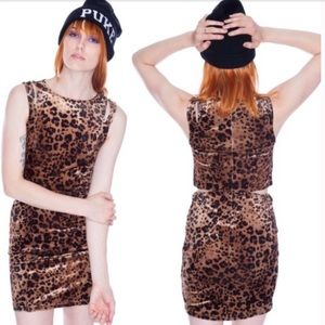 Unif nightcat Velvet animal print bodycon dress