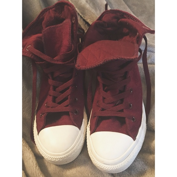 Maroon And White Converse Hightops