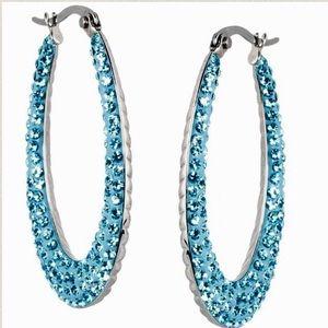 Steel by Design Jewelry - 💎AQUA PAVE' CRYSTAL HOOP EARRINGS•STAINLESS STEEL