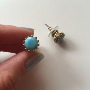 Betsey Johnson baby blue + gold earrings