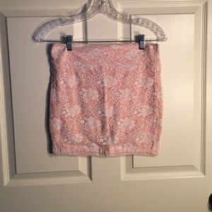 Pink skirt with white lace