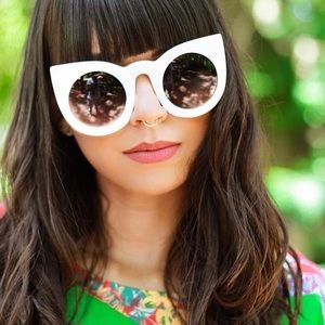 Oversized white cat eye sunglasses