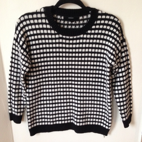 Forever 21 Sweaters Black White Checkered Sweater Poshmark