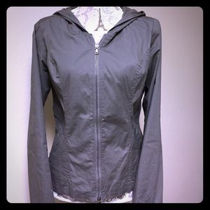 Embroidered Hooded Zip Up Jacket.