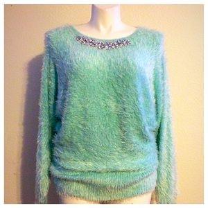 Black Rivet Sweaters - Mint Jeweled Neckline Sweater