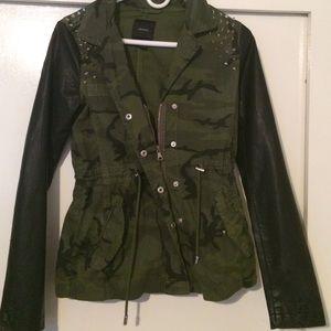 Leather sleeve camo jacket never worn!