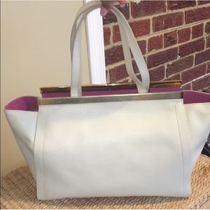 Alberta Di Canio Handbags - 100% Leather Ivory Tote Bag