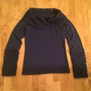 Botique Sweaters - Navy Cowl Neck Sweater