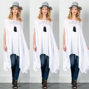 Tops - Oversized Poncho-WHITE