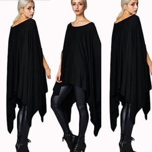 Tops - Oversized Poncho-BLACK