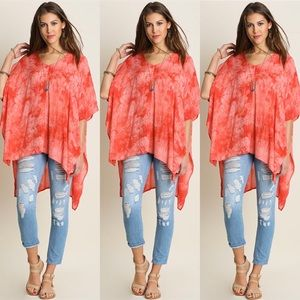 Tops - Tie Dye High Low Tunic- CORAL