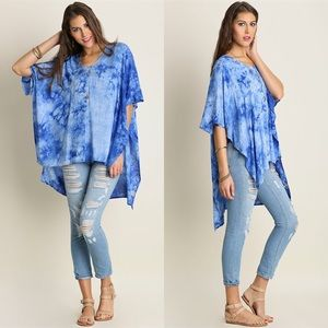 Tops - ⭐️SALE⭐️Tie Dye High Low Tunic- CORAL or BLUE