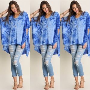 Tops - Tie Dye High Low Tunic- BLUE