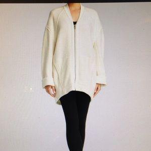 Helmut Lang Effuse Ivory zip front fleece jacket S