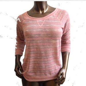 Energie Sweaters - NWT Rose Pink 3/4 Sleeve Sheer Stripe Sweater