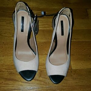 Zara two tone peep toe pump