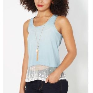 Rue 21 Tops - Lace trim chambray tank