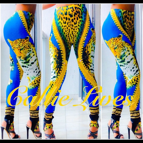 76905f4c897598 Callie Lives Pants | African Tiger Gold Versace Like Bodycon ...