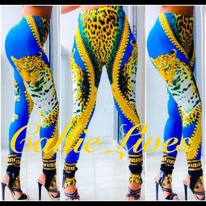 Callie Lives Pants - African Tiger Gold Versace like BodyCon Leggings
