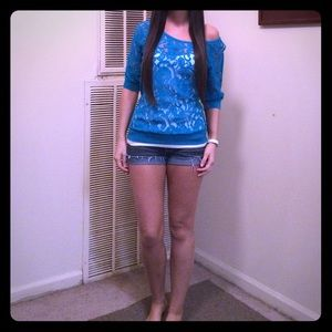 Turquoise Lace Wide Boat Neck Top