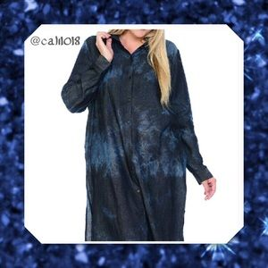 Bellino Clothing Tops - ‼️1HR SALE New Navy Plus Dipped/Tye-dye Shirtdress