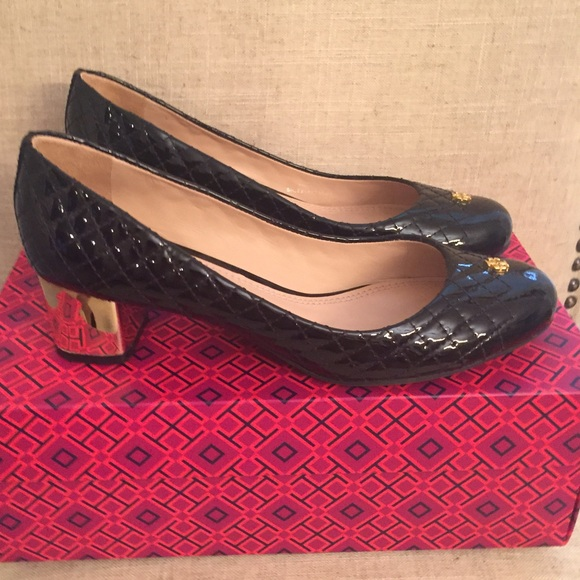 e7a855e60e01 Tory Burch Kent Black Patent Quilted Heels 8