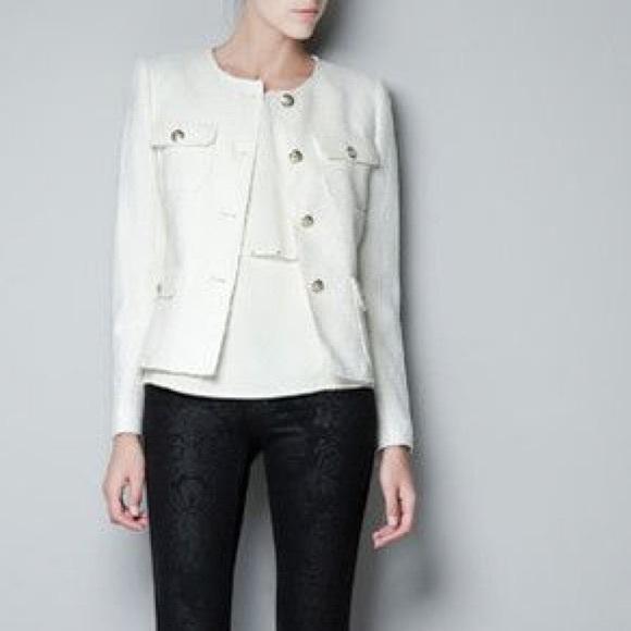 54% off Zara Jackets & Blazers - NWT Zara Cream Blazer w/ gold ...