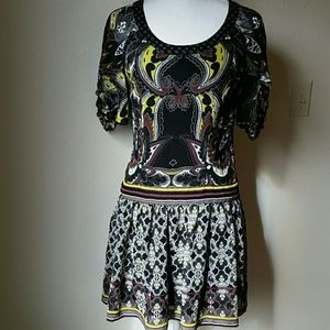 EUC Sassy Arden  B. Whimsical dress w silk inlet