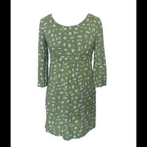 Size 2 Boden Green and Blue Printed Dress